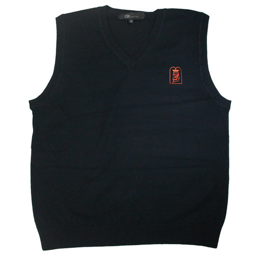 Kids Sleeveless Cotton Sweater Vest | Navy With Bnos Zion D'Bobov Elem Embroidery