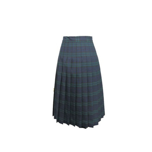 Juniors Uniform Pleated Skirt Navy and Green Plaid R