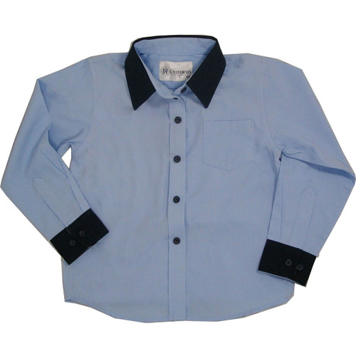 Girls Blue with Navy Cuff Broadcloth Blouse Long Sleeve