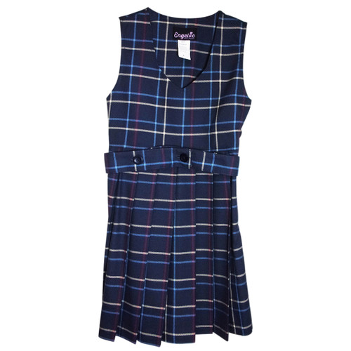 Girls School Uniform Scoop Neck Plaid Pleated Jumper w/Belt (Plaid BB )