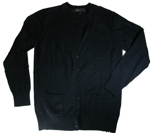 V-Neck Cardigan Sweater - Navy - 100% Cotton Bais Tzivia