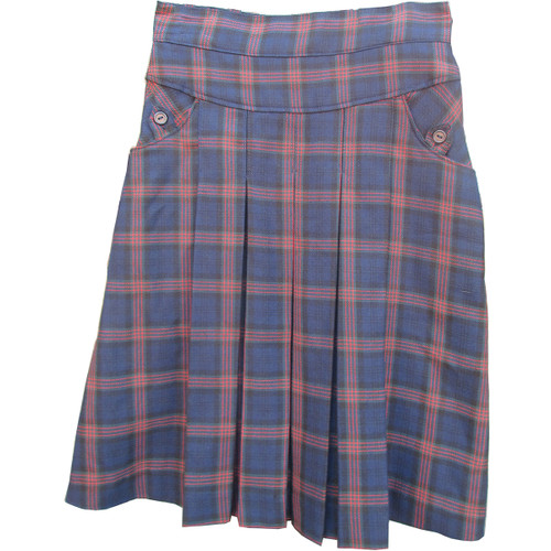 Plaid Skirt With 2 Pocket Maroon and Navy Plaid