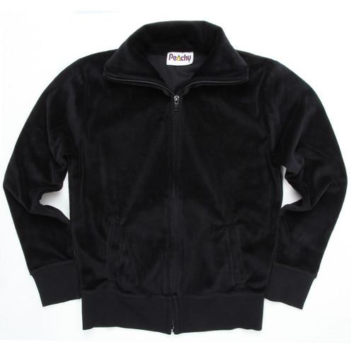 Black Velour Zip-Up With Collar & Side Pockets Machon LA