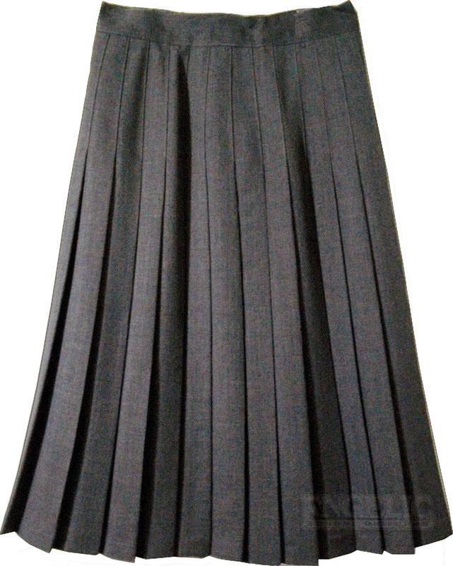 7ae011302f5e6a Juniors School Uniform Pleated Skirt Grey Poly/Wool - Engelic Uniforms
