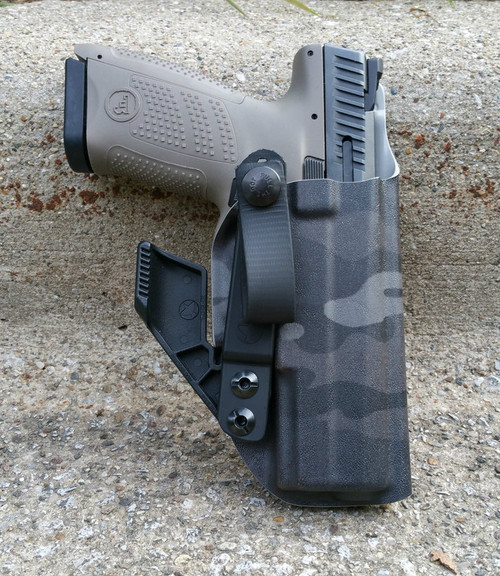 "Stealth IWB shown in ""Nightstalker"" with RCS concealment claw and strut and soft loop attachment"
