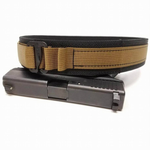 """HolsterCo Lo-Profile EDC Belt shown in Black with Coyote 1""""webbing and G-Hook buckle"""