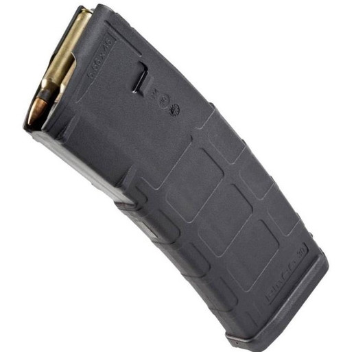 The PMAG 30 AR/M4 GEN M2 MOE is a 30-round 5.56x45 NATO (.223 Remington) AR15/M4 compatible magazine that offers a cost competitive upgrade from the aluminum USGI.  It features an impact resistant polymer construction, easy to disassemble design with a flared floorplate for positive magazine extraction, resilient stainless steel spring for corrosion resistance, and an anti-tilt, self-lubricating follower for increased reliability.  Magpul Original Equipment (MOE) is a line of firearm accessories designed to provide a high-quality, economical alternative to standard weapon parts. The MOE line distinguishes itself with a simplified feature set, but maintains Magpul engineering and material quality. The GEN M2 MOE is identical in form and function to the older model PMAG except that the optional Impact/Dust Cover is now sold separately.  Made in U.S.A.  Black Only