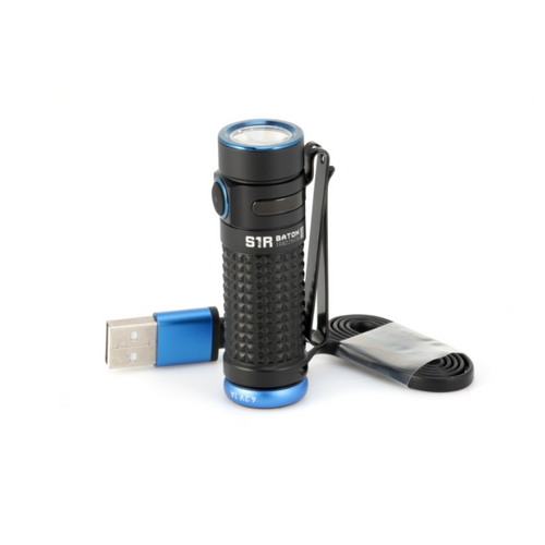 The S1R II Baton is the second generation of Olights flagship rechargeable single CR123A/RCR123A powered side-switch EDC flashlight.  This extremely compact flashlight reaches an incredible max output of 1,000 lumens thanks to the included new high discharge rate battery.  The second-generation TIR optic lens pushes the beam to a new level with unmatched clarity and balanced hotspot.  The magnetic rechargeable tailcap is integrated into a unibody design for a more streamlined and refined look producing a smaller profile. while retaining the classic look of the Baton series, the S1R II features an articulate texturized body pattern that provides a great feel resulting in a firmer grip than the previous generation.  The side switch features a 3-stage color battery level indicator, so you know what battery percentage range you have left in real time.  The S1R II also comes with an upgraded MCC2 magnetic USB charging cable that Is more compact and offers a faster 1A charge rate.  The S1R series is by far the most popular compact flashlight ever produced by Olight due to its incredible output, fantastic design, and convenient features. Get the ultimate every day carry flashlight.