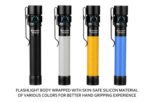 Olight S2A 550 Lumen Tactical Flashlight. FIVE BRIGHTNESS LEVELS - Powered by 2x AA batteries that offers five brightness levels with a maximum 550 lumens and a minimum .5 lumen moonlight mode. BETTER GRIP - the flashlight body is wrapped with skin-safe silicon material in your choice of black, gray, blue, or orange. DURABLE CONSTRUCTION - Made from eco-friendly AL6061-T6 aluminum alloy body with anti-scratch Milspec type-III hard anodized finish. DESIGNED FOR LONGEVITY - The turbo mode offers a 3 minute burst, then gradually steps down to 60% brightness to prevent the overheating of your light and batteries.