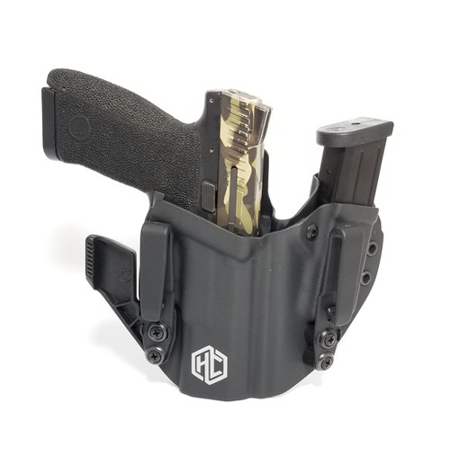 The HolsterCo PRAETORIAN is a dedicated appendix rig made for superior concealment in the appendix position.  The PRAETOR features adjustable ride height and both units have individual retention adjustment.  Available with  RCS Overhooks, Grip Hooks or Struts with Soft Loops.  Available only in Black, and Right Handed currently.