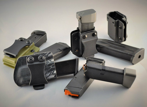 NEW single and double stack mag carriers... cad designed, cnc milled forms for exact and easily replicated shells time after time. IWB, OWB  (with FOMI Clip), ambidextrous and can be carried with bullets facing either direction.