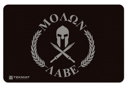 "TEKMAT Armorers Bench Mat Molon Labe   TekMat is the creator of original printed cleaning and maintenance mat. Our 17"" TekMats are large enough to handle a fully disassembled handgun with room to spare for tools and accessories. The 1/8"" padding on these mats not only provides a premium feel and high level of quality but it offers extra protection from any rough handling or drops while working on your firearm. The ultra soft, oil and water-resistant surface helps protect your firearm from scratches while the diagrams and illustrations help with cleaning, disassembly and are just plain fun to look at. PROTECT YOUR GUN AND YOUR WORK AREA - The soft thermoplastic fiber surface ensures your gun doesn't get scratched while the extra thick, 1/8"" neoprene rubber will protect your work surface and prevent the mat from sliding. This mat will also keep harmful chemicals, oil and dirt from penetrating down to your desk, bench or work area where you normally clean and work on your firearm. OVERSIZED DESIGN - This gun cleaning mat measures 11"" x 17"" and is 1/8"" thick. The oversized design gives you plenty of room to disassemble your handgun and to clean it without having to move parts all over. The thick 1/8"" neoprene rubber backing ensures the cleaning mat will protect your firearm and work surface. QUALITY GUN CLEANING MAT - This gun cleaning mat by TekMat is made to exacting standards. This begins with the water-resistant, scratch proof, fade and oil resistant dye-sublimation printing. This heat transferred printing impregnates the ink into the fibers for a lifetime of durability. TekMat does not silkscreen their designs like a lot of other inferior gun cleaning mat manufacturers. EASY TO USE - This gun cleaning mat features full color graphics and rolls up for easy storage along with your other cleaning supplies and accessories."