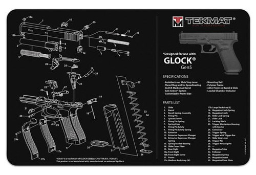 "TEKMAT Armorers Bench Mat Glock Gen 5 Black   TekMat is the creator of original printed cleaning and maintenance mat. Our 17"" TekMats are large enough to handle a fully disassembled handgun with room to spare for tools and accessories. The 1/8"" padding on these mats not only provides a premium feel and high level of quality but it offers extra protection from any rough handling or drops while working on your firearm. The ultra soft, oil and water-resistant surface helps protect your firearm from scratches while the diagrams and illustrations help with cleaning, disassembly and are just plain fun to look at. PROTECT YOUR GUN AND YOUR WORK AREA - The soft thermoplastic fiber surface ensures your gun doesn't get scratched while the extra thick, 1/8"" neoprene rubber will protect your work surface and prevent the mat from sliding. This mat will also keep harmful chemicals, oil and dirt from penetrating down to your desk, bench or work area where you normally clean and work on your firearm. OVERSIZED DESIGN - This gun cleaning mat measures 11"" x 17"" and is 1/8"" thick. The oversized design gives you plenty of room to disassemble your handgun and to clean it without having to move parts all over. The thick 1/8"" neoprene rubber backing ensures the cleaning mat will protect your firearm and work surface. QUALITY GUN CLEANING MAT - This gun cleaning mat by TekMat is made to exacting standards. This begins with the water-resistant, scratch proof, fade and oil resistant dye-sublimation printing. This heat transferred printing impregnates the ink into the fibers for a lifetime of durability. TekMat does not silkscreen their designs like a lot of other inferior gun cleaning mat manufacturers. EASY TO USE - This gun cleaning mat features full color graphics and rolls up for easy storage along with your other cleaning supplies and accessories."