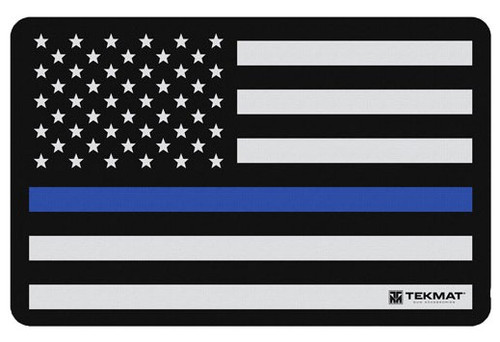 """TEKMAT Armorers Bench Mat Police Support Flag   TekMat is the creator of original printed cleaning and maintenance mat. Our 17"""" TekMats are large enough to handle a fully disassembled handgun with room to spare for tools and accessories. The 1/8"""" padding on these mats not only provides a premium feel and high level of quality but it offers extra protection from any rough handling or drops while working on your firearm. The ultra soft, oil and water-resistant surface helps protect your firearm from scratches while the diagrams and illustrations help with cleaning, disassembly and are just plain fun to look at. PROTECT YOUR GUN AND YOUR WORK AREA - The soft thermoplastic fiber surface ensures your gun doesn't get scratched while the extra thick, 1/8"""" neoprene rubber will protect your work surface and prevent the mat from sliding. This mat will also keep harmful chemicals, oil and dirt from penetrating down to your desk, bench or work area where you normally clean and work on your firearm. OVERSIZED DESIGN - This gun cleaning mat measures 11"""" x 17"""" and is 1/8"""" thick. The oversized design gives you plenty of room to disassemble your handgun and to clean it without having to move parts all over. The thick 1/8"""" neoprene rubber backing ensures the cleaning mat will protect your firearm and work surface. QUALITY GUN CLEANING MAT - This gun cleaning mat by TekMat is made to exacting standards. This begins with the water-resistant, scratch proof, fade and oil resistant dye-sublimation printing. This heat transferred printing impregnates the ink into the fibers for a lifetime of durability. TekMat does not silkscreen their designs like a lot of other inferior gun cleaning mat manufacturers. EASY TO USE - This gun cleaning mat features full color graphics and rolls up for easy storage along with your other cleaning supplies and accessories."""