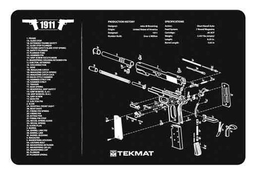 "TEKMAT Armorers Bench Mat 1911 Pistol    TekMat is the creator of original printed cleaning and maintenance mat. Our 17"" TekMats are large enough to handle a fully disassembled handgun with room to spare for tools and accessories. The 1/8"" padding on these mats not only provides a premium feel and high level of quality but it offers extra protection from any rough handling or drops while working on your firearm. The ultra soft, oil and water-resistant surface helps protect your firearm from scratches while the diagrams and illustrations help with cleaning, disassembly and are just plain fun to look at. PROTECT YOUR GUN AND YOUR WORK AREA - The soft thermoplastic fiber surface ensures your gun doesn't get scratched while the extra thick, 1/8"" neoprene rubber will protect your work surface and prevent the mat from sliding. This mat will also keep harmful chemicals, oil and dirt from penetrating down to your desk, bench or work area where you normally clean and work on your firearm. OVERSIZED DESIGN - This gun cleaning mat measures 11"" x 17"" and is 1/8"" thick. The oversized design gives you plenty of room to disassemble your handgun and to clean it without having to move parts all over. The thick 1/8"" neoprene rubber backing ensures the cleaning mat will protect your firearm and work surface. QUALITY GUN CLEANING MAT - This gun cleaning mat by TekMat is made to exacting standards. This begins with the water-resistant, scratch proof, fade and oil resistant dye-sublimation printing. This heat transferred printing impregnates the ink into the fibers for a lifetime of durability. TekMat does not silkscreen their designs like a lot of other inferior gun cleaning mat manufacturers. EASY TO USE - This gun cleaning mat features full color graphics and rolls up for easy storage along with your other cleaning supplies and accessories."
