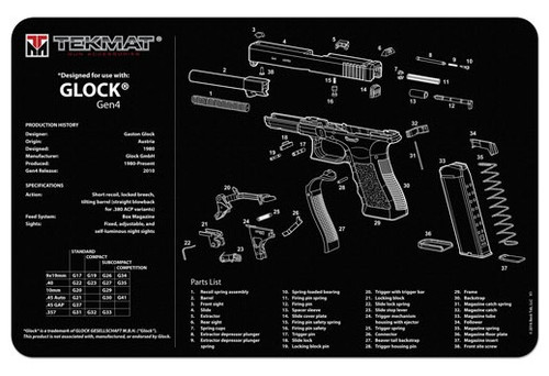 """TEKMAT Armorers Bench Mat Glock Gen 4 Black   TekMat is the creator of original printed cleaning and maintenance mat. Our 17"""" TekMats are large enough to handle a fully disassembled handgun with room to spare for tools and accessories. The 1/8"""" padding on these mats not only provides a premium feel and high level of quality but it offers extra protection from any rough handling or drops while working on your firearm. The ultra soft, oil and water-resistant surface helps protect your firearm from scratches while the diagrams and illustrations help with cleaning, disassembly and are just plain fun to look at. PROTECT YOUR GUN AND YOUR WORK AREA - The soft thermoplastic fiber surface ensures your gun doesn't get scratched while the extra thick, 1/8"""" neoprene rubber will protect your work surface and prevent the mat from sliding. This mat will also keep harmful chemicals, oil and dirt from penetrating down to your desk, bench or work area where you normally clean and work on your firearm. OVERSIZED DESIGN - This gun cleaning mat measures 11"""" x 17"""" and is 1/8"""" thick. The oversized design gives you plenty of room to disassemble your handgun and to clean it without having to move parts all over. The thick 1/8"""" neoprene rubber backing ensures the cleaning mat will protect your firearm and work surface. QUALITY GUN CLEANING MAT - This gun cleaning mat by TekMat is made to exacting standards. This begins with the water-resistant, scratch proof, fade and oil resistant dye-sublimation printing. This heat transferred printing impregnates the ink into the fibers for a lifetime of durability. TekMat does not silkscreen their designs like a lot of other inferior gun cleaning mat manufacturers. EASY TO USE - This gun cleaning mat features full color graphics and rolls up for easy storage along with your other cleaning supplies and accessories."""