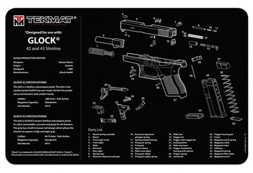"TEKMAT Armorers Bench Mat Glock 42 and 43   TekMat is the creator of original printed cleaning and maintenance mat. Our 17"" TekMats are large enough to handle a fully disassembled handgun with room to spare for tools and accessories. The 1/8"" padding on these mats not only provides a premium feel and high level of quality but it offers extra protection from any rough handling or drops while working on your firearm. The ultra soft, oil and water-resistant surface helps protect your firearm from scratches while the diagrams and illustrations help with cleaning, disassembly and are just plain fun to look at. PROTECT YOUR GUN AND YOUR WORK AREA - The soft thermoplastic fiber surface ensures your gun doesn't get scratched while the extra thick, 1/8"" neoprene rubber will protect your work surface and prevent the mat from sliding. This mat will also keep harmful chemicals, oil and dirt from penetrating down to your desk, bench or work area where you normally clean and work on your firearm. OVERSIZED DESIGN - This gun cleaning mat measures 11"" x 17"" and is 1/8"" thick. The oversized design gives you plenty of room to disassemble your handgun and to clean it without having to move parts all over. The thick 1/8"" neoprene rubber backing ensures the cleaning mat will protect your firearm and work surface. QUALITY GUN CLEANING MAT - This gun cleaning mat by TekMat is made to exacting standards. This begins with the water-resistant, scratch proof, fade and oil resistant dye-sublimation printing. This heat transferred printing impregnates the ink into the fibers for a lifetime of durability. TekMat does not silkscreen their designs like a lot of other inferior gun cleaning mat manufacturers. EASY TO USE - This gun cleaning mat features full color graphics and rolls up for easy storage along with your other cleaning supplies and accessories."