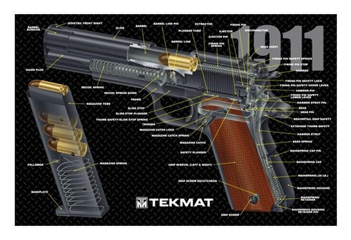 "TEKMAT Armorers Bench Mat 1911 Pistol Cutaway   TekMat is the creator of original printed cleaning and maintenance mat. Our 17"" TekMats are large enough to handle a fully disassembled handgun with room to spare for tools and accessories. The 1/8"" padding on these mats not only provides a premium feel and high level of quality but it offers extra protection from any rough handling or drops while working on your firearm. The ultra soft, oil and water-resistant surface helps protect your firearm from scratches while the diagrams and illustrations help with cleaning, disassembly and are just plain fun to look at. PROTECT YOUR GUN AND YOUR WORK AREA - The soft thermoplastic fiber surface ensures your gun doesn't get scratched while the extra thick, 1/8"" neoprene rubber will protect your work surface and prevent the mat from sliding. This mat will also keep harmful chemicals, oil and dirt from penetrating down to your desk, bench or work area where you normally clean and work on your firearm. OVERSIZED DESIGN - This gun cleaning mat measures 11"" x 17"" and is 1/8"" thick. The oversized design gives you plenty of room to disassemble your handgun and to clean it without having to move parts all over. The thick 1/8"" neoprene rubber backing ensures the cleaning mat will protect your firearm and work surface. QUALITY GUN CLEANING MAT - This gun cleaning mat by TekMat is made to exacting standards. This begins with the water-resistant, scratch proof, fade and oil resistant dye-sublimation printing. This heat transferred printing impregnates the ink into the fibers for a lifetime of durability. TekMat does not silkscreen their designs like a lot of other inferior gun cleaning mat manufacturers. EASY TO USE - This gun cleaning mat features full color graphics and rolls up for easy storage along with your other cleaning supplies and accessories."