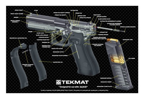 "TEKMAT Armorers Bench Mat Glock 17 Gen 4 Cutaway   TekMat is the creator of original printed cleaning and maintenance mat. Our 17"" TekMats are large enough to handle a fully disassembled handgun with room to spare for tools and accessories. The 1/8"" padding on these mats not only provides a premium feel and high level of quality but it offers extra protection from any rough handling or drops while working on your firearm. The ultra soft, oil and water-resistant surface helps protect your firearm from scratches while the diagrams and illustrations help with cleaning, disassembly and are just plain fun to look at. PROTECT YOUR GUN AND YOUR WORK AREA - The soft thermoplastic fiber surface ensures your gun doesn't get scratched while the extra thick, 1/8"" neoprene rubber will protect your work surface and prevent the mat from sliding. This mat will also keep harmful chemicals, oil and dirt from penetrating down to your desk, bench or work area where you normally clean and work on your firearm. OVERSIZED DESIGN - This gun cleaning mat measures 11"" x 17"" and is 1/8"" thick. The oversized design gives you plenty of room to disassemble your handgun and to clean it without having to move parts all over. The thick 1/8"" neoprene rubber backing ensures the cleaning mat will protect your firearm and work surface. QUALITY GUN CLEANING MAT - This gun cleaning mat by TekMat is made to exacting standards. This begins with the water-resistant, scratch proof, fade and oil resistant dye-sublimation printing. This heat transferred printing impregnates the ink into the fibers for a lifetime of durability. TekMat does not silkscreen their designs like a lot of other inferior gun cleaning mat manufacturers. EASY TO USE - This gun cleaning mat features full color graphics and rolls up for easy storage along with your other cleaning supplies and accessories"