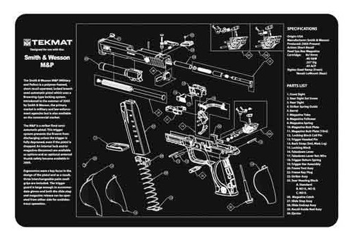 """TEKMAT Armorers Bench Mat M&P Pistol   TekMat is the creator of original printed cleaning and maintenance mat. Our 17"""" TekMats are large enough to handle a fully disassembled handgun with room to spare for tools and accessories. The 1/8"""" padding on these mats not only provides a premium feel and high level of quality but it offers extra protection from any rough handling or drops while working on your firearm. The ultra soft, oil and water-resistant surface helps protect your firearm from scratches while the diagrams and illustrations help with cleaning, disassembly and are just plain fun to look at. PROTECT YOUR GUN AND YOUR WORK AREA - The soft thermoplastic fiber surface ensures your gun doesn't get scratched while the extra thick, 1/8"""" neoprene rubber will protect your work surface and prevent the mat from sliding. This mat will also keep harmful chemicals, oil and dirt from penetrating down to your desk, bench or work area where you normally clean and work on your firearm. OVERSIZED DESIGN - This gun cleaning mat measures 11"""" x 17"""" and is 1/8"""" thick. The oversized design gives you plenty of room to disassemble your handgun and to clean it without having to move parts all over. The thick 1/8"""" neoprene rubber backing ensures the cleaning mat will protect your firearm and work surface. QUALITY GUN CLEANING MAT - This gun cleaning mat by TekMat is made to exacting standards. This begins with the water-resistant, scratch proof, fade and oil resistant dye-sublimation printing. This heat transferred printing impregnates the ink into the fibers for a lifetime of durability. TekMat does not silkscreen their designs like a lot of other inferior gun cleaning mat manufacturers. EASY TO USE - This gun cleaning mat features full color graphics and rolls up for easy storage along with your other cleaning supplies and accessories."""