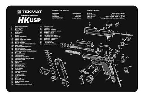 "TEKMAT Armorers Bench Mat H&K USP   TekMat is the creator of original printed cleaning and maintenance mat. Our 17"" TekMats are large enough to handle a fully disassembled handgun with room to spare for tools and accessories. The 1/8"" padding on these mats not only provides a premium feel and high level of quality but it offers extra protection from any rough handling or drops while working on your firearm. The ultra soft, oil and water-resistant surface helps protect your firearm from scratches while the diagrams and illustrations help with cleaning, disassembly and are just plain fun to look at. PROTECT YOUR GUN AND YOUR WORK AREA - The soft thermoplastic fiber surface ensures your gun doesn't get scratched while the extra thick, 1/8"" neoprene rubber will protect your work surface and prevent the mat from sliding. This mat will also keep harmful chemicals, oil and dirt from penetrating down to your desk, bench or work area where you normally clean and work on your firearm. OVERSIZED DESIGN - This gun cleaning mat measures 11"" x 17"" and is 1/8"" thick. The oversized design gives you plenty of room to disassemble your handgun and to clean it without having to move parts all over. The thick 1/8"" neoprene rubber backing ensures the cleaning mat will protect your firearm and work surface. QUALITY GUN CLEANING MAT - This gun cleaning mat by TekMat is made to exacting standards. This begins with the water-resistant, scratch proof, fade and oil resistant dye-sublimation printing. This heat transferred printing impregnates the ink into the fibers for a lifetime of durability. TekMat does not silkscreen their designs like a lot of other inferior gun cleaning mat manufacturers. EASY TO USE - This gun cleaning mat features full color graphics and rolls up for easy storage along with your other cleaning supplies and accessories."