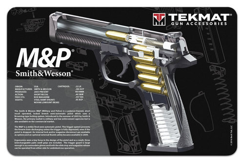 "TEKMAT Armorers Bench Mat S&W M&P Cutaway   TekMat is the creator of original printed cleaning and maintenance mat. Our 17"" TekMats are large enough to handle a fully disassembled handgun with room to spare for tools and accessories. The 1/8"" padding on these mats not only provides a premium feel and high level of quality but it offers extra protection from any rough handling or drops while working on your firearm. The ultra soft, oil and water-resistant surface helps protect your firearm from scratches while the diagrams and illustrations help with cleaning, disassembly and are just plain fun to look at. PROTECT YOUR GUN AND YOUR WORK AREA - The soft thermoplastic fiber surface ensures your gun doesn't get scratched while the extra thick, 1/8"" neoprene rubber will protect your work surface and prevent the mat from sliding. This mat will also keep harmful chemicals, oil and dirt from penetrating down to your desk, bench or work area where you normally clean and work on your firearm. OVERSIZED DESIGN - This gun cleaning mat measures 11"" x 17"" and is 1/8"" thick. The oversized design gives you plenty of room to disassemble your handgun and to clean it without having to move parts all over. The thick 1/8"" neoprene rubber backing ensures the cleaning mat will protect your firearm and work surface. QUALITY GUN CLEANING MAT - This gun cleaning mat by TekMat is made to exacting standards. This begins with the water-resistant, scratch proof, fade and oil resistant dye-sublimation printing. This heat transferred printing impregnates the ink into the fibers for a lifetime of durability. TekMat does not silkscreen their designs like a lot of other inferior gun cleaning mat manufacturers. EASY TO USE - This gun cleaning mat features full color graphics and rolls up for easy storage along with your other cleaning supplies and accessories."