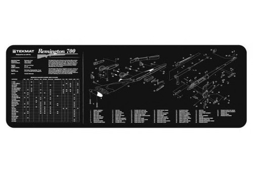 """TEKMAT Armorers Bench Mat Remington 700  TekMat is the creator of original printed cleaning and maintenance mat. Our 36"""" TekMats are large enough to handle a fully disassembled rifle with room to spare for tools and accessories. The 1/8"""" padding on these mats not only provides a premium feel and high level of quality but it offers extra protection from any rough handling or drops while working on your firearm. The ultra soft, oil and water-resistant surface helps protect your firearm from scratches while the diagrams and illustrations help with cleaning, disassembly and are just plain fun to look at. PROTECT YOUR GUN AND YOUR WORK AREA - The soft thermoplastic fiber surface ensures your gun doesn't get scratched while the extra thick, 1/8"""" neoprene rubber will protect your work surface and prevent the mat from sliding. This mat will also keep harmful chemicals, oil and dirt from penetrating down to your desk, bench or work area where you normally clean and work on your Remington 700. OVERSIZED DESIGN - This Remington 700 gun cleaning mat measures 12"""" x 36"""" and is 1/8"""" thick. The oversized design gives you plenty of room to disassemble your handgun and to clean it without having to move parts all over. The thick 1/8"""" neoprene rubber backing ensures the cleaning mat will protect your firearm and work surface. QUALITY GUN CLEANING MAT - This Remington 700 gun cleaning mat by TekMat is made to exacting standards. This begins with the water-resistant, scratch proof, fade and oil resistant dye-sublimation printing. This heat transferred printing impregnates the ink into the fibers for a lifetime of durability. TekMat does not silkscreen their designs like a lot of other inferior gun cleaning mat manufacturers. EASY TO USE - This Remington 700 gun cleaning mat comes with an overview of the history of the Remington 700 as well as a simple to follow parts diagram of the parts that make up your Remington 700. The Remington 700 cleaning mat rolls up for easy storage along with"""