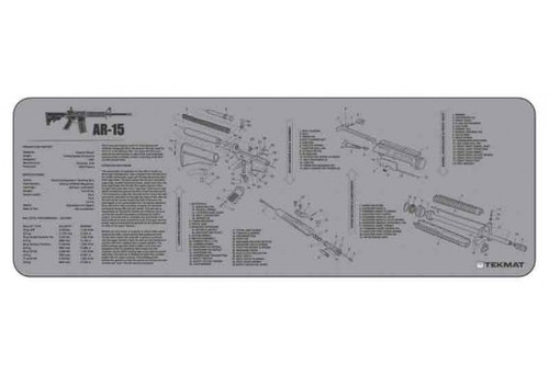 """TEKMAT Armorers Bench Mat AR-15     TekMat is the creator of original printed cleaning and maintenance mat. Our 36"""" TekMats are large enough to handle a fully disassembled rifle with room to spare for tools and accessories. The 1/8"""" padding on these mats not only provides a premium feel and high level of quality but it offers extra protection from any rough handling or drops while working on your firearm. The ultra soft, oil and water-resistant surface helps protect your firearm from scratches while the diagrams and illustrations help with cleaning, disassembly and are just plain fun to look at.   PROTECT YOUR GUN AND YOUR WORK AREA - The soft thermoplastic fiber surface ensures your gun doesn't get scratched while the extra thick, 1/8"""" neoprene rubber will protect your work surface and prevent the mat from sliding. This mat will also keep harmful chemicals, oil and dirt from penetrating down to your desk, bench or work area where you normally clean and work on your AR-15. OVERSIZED DESIGN - This AR-15 gun cleaning mat measures 12"""" x 36"""" and is 1/8"""" thick. The oversized design gives you plenty of room to disassemble your handgun and to clean it without having to move parts all over. The thick 1/8"""" neoprene rubber backing ensures the cleaning mat will protect your firearm and work surface. QUALITY GUN CLEANING MAT - This AR-15 gun cleaning mat by TekMat is made to exacting standards. This begins with the water-resistant, scratch proof, fade and oil resistant dye-sublimation printing. This heat transferred printing impregnates the ink into the fibers for a lifetime of durability. TekMat does not silkscreen their designs like a lot of other inferior gun cleaning mat manufacturers. EASY TO USE - This AR-15 gun cleaning mat comes with an overview of the history of the AR-15 as well as a simple to follow parts diagram of the parts that make up your AR-15. The AR-15 cleaning mat rolls up for easy storage along with your other cleaning supplies and accessories."""