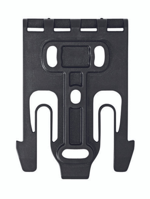 The Safariland Quick Locking System QLS 19 Holster Locking Fork is designed to mount directly to the back of the holster.  The QLS 19 can also be used on MOLLE webbing loops if it is attached to an MLS 16 Accessory Locking Fork which is threaded through the MOLLE loops.  This system allows mounting options to quickly and easily change locations and positions of your holstered weapon.