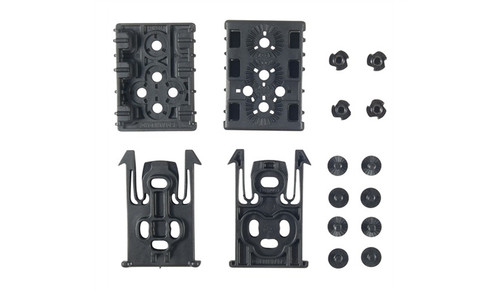 The ELS Kit features the ELS 34 Locking Fork and the ELS 35 Receiver Plate. These models can be used for the quick attachment and detachment of any of Safariland's Tactical Accessories. Each ELS Kit includes (2) ELS 34 Locking Forks and (2) ELS 35 Receiver Plates.  Provides a mounting platform for any Safariland tactical or competition accessory. Very small receiver footprint. Quickly transfer your gun from your body to other mounting points. Mount your accessories nearly anywhere: Belt, thigh rig, in the house, in a vehicle, or on a MOLLE vest.