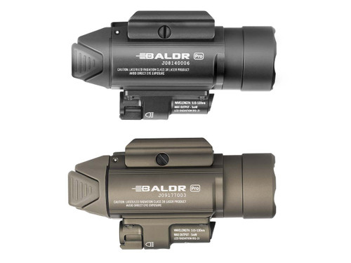 The BALDR Pro is a professional lighting tool with green laser sight and white LED for installation on equipment. Powered by two CR123A batteries, the max output of the BALDR Pro is 1350 lumens. The cool white LED and TIR lens makes for a robust search light. The center beam of the BALDR Pro is intense and concentrated, also soft and wide when near the ground. The white LED can also be set to 300 lumens of constant lighting. The beam emitted by the green laser is clearly visible during both night and day.  Equipped with adjustable screws; the light can withstand strong impacts and vibrations without loosening after calibration. It's easy to install and detach the light by pressing or loosening the side swing arm. The main body of the product is made of aluminum alloy for extremely high strength and reliability. The BALDR Pro is a high-quality choice for professional users with its excellent ease of use, high brightness and extremely powerful performance.    GENERAL DATA Beam Distance (ft)	853 Beam Distance (m)	260 Max. Performance (lumens)	1350 Charge type	Optional charger Compatible Batteries	2 x CR123A Light Intensity (candela)	16900 Light Form	Compact / tight focused hot spot. Ultimate beam distance. Lens / Reflector Type	TIR Optic Lens Mode Operation	Side Switch Form/Size Factor	Medium Size(Permanent Maker) Series	Series Baldr Unique Characteristics	  LIGHTING LEVELS LEVEL 1 (lumens)	1,350~500 Run-time LEVEL 1	 1+115  LEVEL 2 (lumens)	300 Run-time LEVEL 2	 210  Strobe	Yes SOS / BEACON	No TECHNICAL CHARACTERISTICS Waterproof	IPX4 Weight (g / oz)	129/4.55 Length (mm / in)	84/ 3.30 Led	High Performance CW LED Packaging	Carton box Use	Self-defense, law enforcement and tatical Package Contents	 BALDR Pro x 1  3V 1600mAh CR123A Battery x 2  Picatinny (Mil-std-1913) Rail Mount x 1  Rail Screw x 2  T6/T8 Socket Head Wrench x 1  Adjustable screw x 2  User Manual x 1