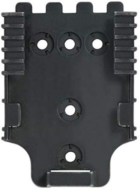 The QLS 22 Receiver Plate is designed to accept the QLS 19 Locking Fork. Constructed of injection molded nylon, it screws onto mounting platforms such as a tactical leg shroud, belt loop, wall or any other stable location. The system (fork and plate) works with any Safariland® 2-hole pattern pouch or 3-hole pattern holster. Rearrange gear quickly and easily without the use of tools. The QLS fork and plate combination passes the Level I Retention™ pull test. Available in Black
