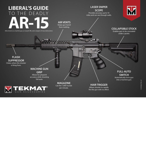 "This tongue-in-cheek poster pokes fun at the way liberal's and anti-gun advocates describe the AR-15. It calls out how ridiculous their claims are and the disinformation they are propagating. This is the perfect addition to your man cave, or better yet, send it to your gun-hating liberal friends.    LARGE, CLEAR PRINTING - This AR-15 poster is 24""x36"" and is printed on recycled 80 lb. text paper with a matte finish. This matte finish has a subtle, silky finish with rich, deep colors and doesn't reflect light like glossy prints do.  ORIGINAL ARTWORK - This AR-15 artwork was designed by TekMat, the makers of the TekMat Gun Cleaning Mats. The Liberal's Guide to the Deadly AR-15 poster is the perfect addition to your man cave or shop and lets you show your support for your favorite handgun and the naivete of the media.  PREMIUM QUALITY - Designed and printed in the USA.   This Liberal's Guide to the Deadly AR-15 poster is the perfect addition to your man cave, bedroom, or office. Original artwork created by TekMat, makers of the TekMat Gun Cleaning Mats, is unique and gives you a great way to customize your space and show your support for AR-15.  Features: High quality printing with vibrant colors Printed on recycled 80 lb. text paper with a matte finish Non-glossy finish reduces glare from lights Large 24"" x 36"" print Decorate your walls in your man cave, bedroom, or office with this AR-15 Poster Easy to frame and makes for a great gift Ships quickly and safely in a sturdy protective cardboard tube"