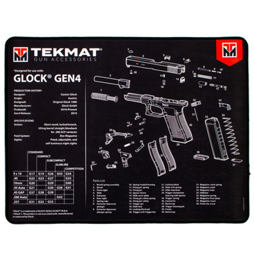 "TEKMAT Armorers Bench Mat Glock Gen 4 Black   TekMat created the original printed cleaning and maintenance mat and with the new Ultra line of Premium TekMats, you get the same quality and durability as the original TekMat but with more space, thicker padding, and a premium stitched edge. The Ultra 20 TekMat is large enough to handle a fully disassembled handgun with room to spare for tools and accessories. The extra thick .25"" padding not only provides a premium feel and high level of quality but it offers extra protection from any rough handling or drops while working on your firearm. The ultra soft, oil and water-resistant surface helps protect your firearm from scratches while the diagrams and illustrations help with cleaning, disassembly and are just plain fun to look at.    Specifications PROTECT YOUR GUN AND YOUR WORK AREA - The soft thermoplastic fiber surface ensures your gun doesn't get scratched while the extra thick, .25"" vulcanized rubber will protect your work surface and prevent the mat from sliding. This mat will also keep harmful chemicals, oil and dirt from penetrating down to your desk, bench or work area where you normally clean and work on your Glock Gen 4. OVERSIZED DESIGN - This Glock Gen 4 gun cleaning mat measures 15"" x 20"" and is .25"" thick. The oversized design gives you plenty of room to disassemble your handgun and to clean it without having to move parts all over. The thick .25"" vulcanized rubber backing ensures the cleaning mat will protect your firearm and work surface. QUALITY GUN CLEANING MAT - This Glock Gen 4 gun cleaning mat by TekMat is made to exacting standards. This begins with the water-resistant, scratch proof, fade and oil resistant dye-sublimation printing. This heat transferred printing impregnates the ink into the fibers for a lifetime of durability. TekMat does not silkscreen their designs like a lot of other inferior gun cleaning mat manufacturers. STITCHED EDGE - In addition to the oversized design and thick padding, this Glock Gen 4 gun cleaning mat also features a stitched edge. This premium finish ensures the mat won't roll and won't fray. EASY TO USE - This Glock Gen 4 gun cleaning mat comes with an overview of the history of the Glock Gen 4 as well as a simple to follow parts diagram of the parts that make up your Glock Gen 4. The Glock Gen 4 cleaning mat rolls up for easy storage along with your other cleaning supplies and accessories."