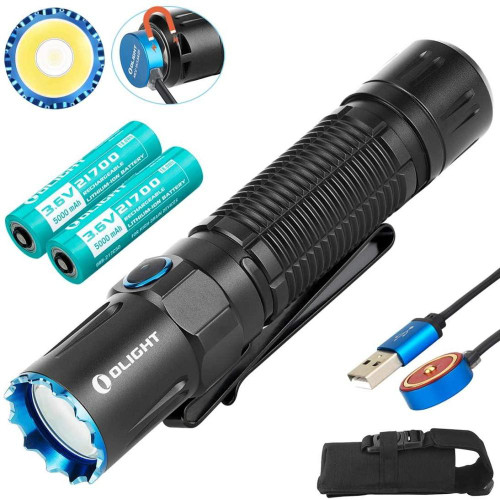 The M2R Pro Warrior is the newest version of OLIGHT two-button straight tactical flashlight. It features a single 5000mAh 21700 rechargeable lithium battery and TIR lens for uniform light. The maximum output and distance reaching 1800 lumens and 300 meters. Newly designed magnetic USB charging wire can hold 2A current. It is an excellent defensive tool with an aggressive strike bezel.    GENERAL DATA Beam Distance (ft)984 Beam Distance (m)300 Max. Performance (lumens)1800 Charge typeMagnetic USB charging cable Compatible Batteries1 x Customized 5000mAh 21700 chargeable lithium battery Light Intensity (candela)22,400 Light FormUniform light Lens / Reflector TypeReflector and TIR Optic Lens Mode OperationDual Switch Form/Size FactorMedium size (Permanent Marker) SeriesSeries M (Tactical, Military) Unique Characteristics Powerful to deliver an 1,800-lumen output and a 300-meter throw. High output via a 5000mAh 21700 rechargeable battery, supporting a maximum runtime of 50 days. Great feeling of firm grip with a new designed body texture. Excellent defensive tool with an aggressive strike bezel. LIGHTING LEVELS LEVEL 1 (lumens)1800(~750lm) (~250lm) Run-time LEVEL 1 4.5+145+45mins   LEVEL 2 (lumens)750 (~250lm) Run-time LEVEL 2 160+40mins  LEVEL 3 (lumens)250 Run-time LEVEL 3 10hrs  LEVEL 4 (lumens)60 Run-time LEVEL 440hrs LEVEL 5 (lumens)15 Run-time LEVEL 5 130hrs.  LEVEL 6 (lumens)1 Run-time LEVEL 6 50 days.  StrobeYes SOS / BEACONNo TECHNICAL CHARACTERISTICS WaterproofIPX8 Weight (g / oz)179 / 6.31 Length (mm / in)136.50 / 5.37 Head Diameter (mm / in)29.5 / 1.16 Body Diameter (mm / in)26.20 / 1.03 LedCree XHP35 HI PackagingCarton box UseTactical / Self- defense / Outdoor Package Contents M2R Pro flashlight x 1 Stainless steel pocket clip x 1 Lanyard x 1 Customized 5000 mAh 21700 chargeable lithium battery x 1 Holster x 1 MCC3 magnetic USB charging cableX 1