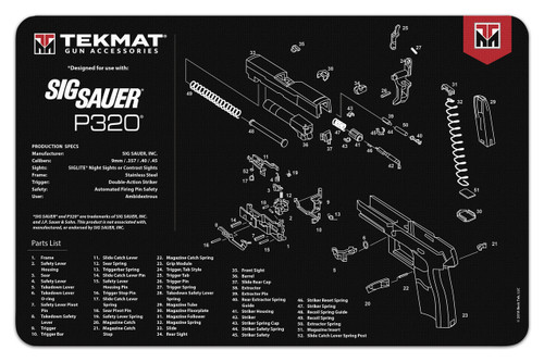 """TEKMAT Armorers Bench Mat Sig P320   TekMat is the creator of original printed cleaning and maintenance mat. Our 17"""" TekMats are large enough to handle a fully disassembled handgun with room to spare for tools and accessories. The 1/8"""" padding on these mats not only provides a premium feel and high level of quality but it offers extra protection from any rough handling or drops while working on your firearm. The ultra soft, oil and water-resistant surface helps protect your firearm from scratches while the diagrams and illustrations help with cleaning, disassembly and are just plain fun to look at. PROTECT YOUR GUN AND YOUR WORK AREA - The soft thermoplastic fiber surface ensures your gun doesn't get scratched while the extra thick, 1/8"""" neoprene rubber will protect your work surface and prevent the mat from sliding. This mat will also keep harmful chemicals, oil and dirt from penetrating down to your desk, bench or work area where you normally clean and work on your firearm. OVERSIZED DESIGN - This gun cleaning mat measures 11"""" x 17"""" and is 1/8"""" thick. The oversized design gives you plenty of room to disassemble your handgun and to clean it without having to move parts all over. The thick 1/8"""" neoprene rubber backing ensures the cleaning mat will protect your firearm and work surface. QUALITY GUN CLEANING MAT - This gun cleaning mat by TekMat is made to exacting standards. This begins with the water-resistant, scratch proof, fade and oil resistant dye-sublimation printing. This heat transferred printing impregnates the ink into the fibers for a lifetime of durability. TekMat does not silkscreen their designs like a lot of other inferior gun cleaning mat manufacturers. EASY TO USE - This gun cleaning mat features full color graphics and rolls up for easy storage along with your other cleaning supplies and accessories."""