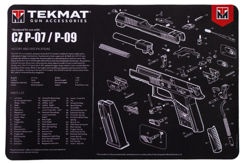 "TEKMAT Armorers Bench Mat CZ P07/P09   TekMat is the creator of original printed cleaning and maintenance mat. Our 17"" TekMats are large enough to handle a fully disassembled handgun with room to spare for tools and accessories. The 1/8"" padding on these mats not only provides a premium feel and high level of quality but it offers extra protection from any rough handling or drops while working on your firearm. The ultra soft, oil and water-resistant surface helps protect your firearm from scratches while the diagrams and illustrations help with cleaning, disassembly and are just plain fun to look at. PROTECT YOUR GUN AND YOUR WORK AREA - The soft thermoplastic fiber surface ensures your gun doesn't get scratched while the extra thick, 1/8"" neoprene rubber will protect your work surface and prevent the mat from sliding. This mat will also keep harmful chemicals, oil and dirt from penetrating down to your desk, bench or work area where you normally clean and work on your firearm. OVERSIZED DESIGN - This gun cleaning mat measures 11"" x 17"" and is 1/8"" thick. The oversized design gives you plenty of room to disassemble your handgun and to clean it without having to move parts all over. The thick 1/8"" neoprene rubber backing ensures the cleaning mat will protect your firearm and work surface. QUALITY GUN CLEANING MAT - This gun cleaning mat by TekMat is made to exacting standards. This begins with the water-resistant, scratch proof, fade and oil resistant dye-sublimation printing. This heat transferred printing impregnates the ink into the fibers for a lifetime of durability. TekMat does not silkscreen their designs like a lot of other inferior gun cleaning mat manufacturers. EASY TO USE - This gun cleaning mat features full color graphics and rolls up for easy storage along with your other cleaning supplies and accessories."