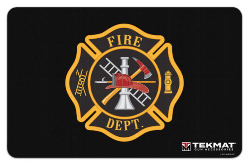 "TEKMAT Armorers Bench Mat Fireman Crest   TekMat is the creator of original printed cleaning and maintenance mat. Our 17"" TekMats are large enough to handle a fully disassembled handgun with room to spare for tools and accessories. The 1/8"" padding on these mats not only provides a premium feel and high level of quality but it offers extra protection from any rough handling or drops while working on your firearm. The ultra soft, oil and water-resistant surface helps protect your firearm from scratches while the diagrams and illustrations help with cleaning, disassembly and are just plain fun to look at. PROTECT YOUR GUN AND YOUR WORK AREA - The soft thermoplastic fiber surface ensures your gun doesn't get scratched while the extra thick, 1/8"" neoprene rubber will protect your work surface and prevent the mat from sliding. This mat will also keep harmful chemicals, oil and dirt from penetrating down to your desk, bench or work area where you normally clean and work on your firearm. OVERSIZED DESIGN - This gun cleaning mat measures 11"" x 17"" and is 1/8"" thick. The oversized design gives you plenty of room to disassemble your handgun and to clean it without having to move parts all over. The thick 1/8"" neoprene rubber backing ensures the cleaning mat will protect your firearm and work surface. QUALITY GUN CLEANING MAT - This gun cleaning mat by TekMat is made to exacting standards. This begins with the water-resistant, scratch proof, fade and oil resistant dye-sublimation printing. This heat transferred printing impregnates the ink into the fibers for a lifetime of durability. TekMat does not silkscreen their designs like a lot of other inferior gun cleaning mat manufacturers. EASY TO USE - This gun cleaning mat features full color graphics and rolls up for easy storage along with your other cleaning supplies and accessories."