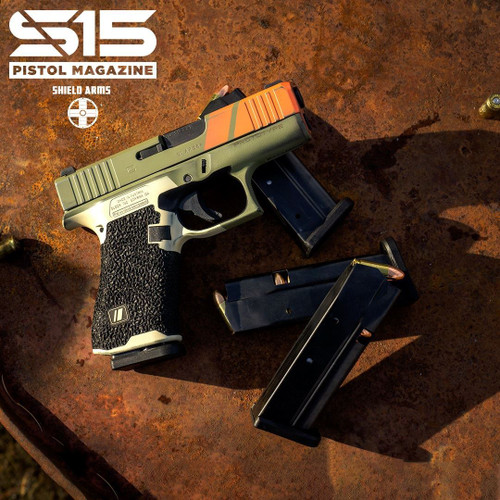 The S15 magazine is a patent-pending, flush-fitting 15 round magazine for the Glock® 43X and Glock® 48. The S15 is a steel magazine, and is the same length as the OEM Glock® 10 round magazine, but holds an additional 5 rounds. Increased Capacity, Same Reliability Glock® pistols and magazines are known for reliability - the S15 maintains that same Glock® reliability, while giving you a 50% increase in magazine capacity in the same overall footprint. We accomplished this increased capacity with our patent-pending magazine geometry, allowing the rounds to stagger, thereby fitting more in the same amount of space. The S15 is currently only setup for right handed mag catch (left side of pistol). We are currently working on an ambi version, release TBD. Proudly made in the USA by Check-Mate. Mag Catch Recommendation We recommend swapping out your plastic OEM mag catch with a metal mag catch. Here's why. Specifications 15 round capacity Same length as an OEM Glock 43X/48 magazine Easy to remove, impact resistant base pad High visibility follower High lubricity finish, Black Oxide coating Made in the USA Patent-pending Finish Options S15 magazines currently come standard with a Black Oxide coating. Black Oxide offers only minimal corrosion resistance, so we recommend that you wipe down the exterior of the magazine with WD40 or your favorite gun lubricant to prevent corrosion. Electroless Nickel Electroless nickel coatings are extremely uniform, corrosion and erosion resistant and provide excellent lubricity. If you are in a humid or salt water environment, or if you sweat a lot, we recommend Electroless Nickel or Black Electroless Nickel. Black Electroless Nickel Electroless nickel coatings are extremely uniform, corrosion and erosion resistant and provide excellent lubricity. If you are in a humid or salt water environment, or if you sweat a lot, we recommend Electroless Nickel or Black Electroless Nickel. Warranty Like all Shield Arms products, our S15 magazine comes with
