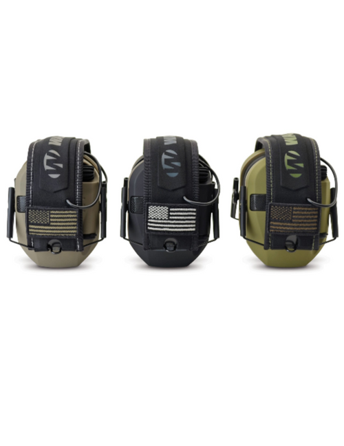 PRODUCT DETAILS  The Walker's® Razor Patriot Electronic Earmuffs are designed for shooters who are proud of the American flag. Razor Patriot muffs use sound-activated compression to automatically shut off loud noises, within 0.02 seconds, to an effective noise reduction rating (NRR) of 23dB. Conversations, range commands, and the sounds of approaching game are amplified with 2 hi-gain Omni directional microphones. A recessed volume control knob allows you to regulate incoming sound. The slim, low-profile ear cup design minimizes interference with firearm stocks so you can shoulder your gun quickly and shoot instinctively. A comfort headband with a US flag on each side provides all-day comfort and keeps the muffs in place during recoil. A folding design facilitates storage. Walker's Razor Patriot Electronic Ear Muffs operate on 2 AAA batteries (included) and an external battery door provides quick access.  Includes US Flag patch on each side Amplifies conversation level noises Automatically shuts off loud noises Slim, low-profile ear cups Padded headband Metal wire frame Includes batteries 23dB NRR