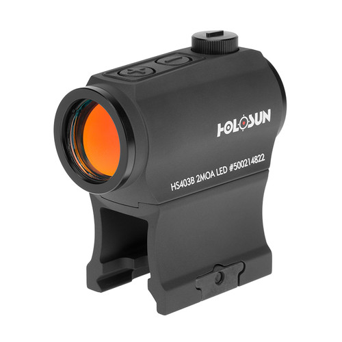 DETAILS  The Holosun HS403B is a compact red dot sight employing new LED technology. This 2 MOA red dot sight powers up on the slightest vibration with an incredible 50,000 run time using a single CR2032 battery. Compatible with standard mounts, this red dot can be mounted on various weapons platforms such as shotguns, pistols, air rifles, and crossbows.  Features: Parallax free Unlimited eye relief Push button controls Streamlined housing design Auto-wake on vibration detection Low mount and 1/3 co-witness mount included 1913 Picatinny and Weaver rail compatible 6061-T6 aluminum SPECIFICATIONS  Battery Life50000 HoursBattery TypeCR2032 3V Lithium CoinBrandHolosunBrightness12 SettingsClick Value1/2 MOAFinishPlasma Electrolytic OxidationMaterialAluminum - 6061-T6Night Vision CompatibleNight Vision CompatibleReticle2 MOA DotReticle ColorRedWarrantylimited lifetimeWeight2.8 Oz.