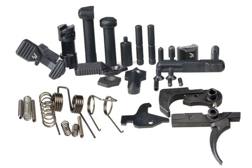 The Enhanced Lower parts kit offers a convenient upgrade package for the AR15 for those looking for a complete Strike Industries solution for new builds, or to update their plain jane AR.  This kit includes all the basics that you will need to build out your AR (minus grip), but with Strike Industries Enhanced lower parts where applicable.  This complete kit includes our fire control group which offers a crisp 4.5-5.5 lb pull, with unmatched smoothness for mil-spec style AR15 triggers.  Longitudinally ground and polished sear engagement surfaces coupled with precision cut sear angle equate a vastly improved trigger feel without sacrificing safety or reliability.  COMPATIBILITY: AR-15: Mil-Spec lower receivers NOT COMPATIBLE: AR-10: Bolt Catch, Bolt Catch Roll Pin, Pivot Pin and Takedown Pin are not compatible with AR-10 lower receivers.  DISCLAIMER: Due to the compact design of the PDW Stock and PDW Stabilizer, the SI Extended, Shift & Ultra Light Pivot / Takedown Pins, as well as other possible extended pin sets on the market, will bind or not clear the slide rods.  Package includes:  SI ENHANCED LOWER PARTS:  - Enhanced Bolt Catch  - features improved grip surfaces and angles - Strike Magazine Catch  - Strike Magazine Catch Button  - Enhanced Pivot Pin - longer of the two large pins. - Enhanced Takedown Pin - smaller of the two large pins. - SI Selector Lever - 2 included in package - SI Selector End Plate - SI 60-90° 3-in-1 Selector Shaft - with screws  SPRINGS: - Bolt Catch Spring - easily confused with the disconnector spring; disconnector spring is tapered though. - Buffer Retainer Spring - second largest coil type spring in the kit. - Disconnector Spring – slightly larger than bolt-catch spring, identifiable because one end is a little bit wide than the other. - Hammer Spring - largest of all the springs.  - Magazine Catch Spring - this is the largest coil spring in the kit. - Pivot Detent Spring - same as the takedown detent spring, so there are two in a kit. - Selector Spring - similar to the takedown and pivot detent springs, but larger diameter; there will only be one of these. - Takedown Detent Spring - same as the pivot detent spring, so there are two in a kit. - Trigger Spring - the smaller of the two largest springs.  PINS: - Bolt Catch Plunger – mushroom shaped pin - Bolt Catch Roll Pin - smaller of the two roll pins. - Hammer Pin – solid pin with machined grooves; can be inserted from either side. - Pivot Detent - same as takedown detent; both sides usually rounded or semi-conical. - Selector Detent - one end is flat, the other pointed/semi-conical. - Takedown Detent - same as pivot detent; both sides usually rounded. - Trigger Pin - same as hammer pin; can be inserted from either side. - Buffer Retainer  – large hollow barrel with small pin protruding from the top   FIRE CONTROL GROUP: - Trigger: – Investment cast trigger, CNC machined, heat treated, phosphated, precision ground - Hammer: – Investment cast hammer, CNC machined, heat treated, phosphated, precision ground  Features - Includes SI's signature Enhanced Lower Parts (AR-EBC, New improved SI-SMC, AR-EPTP, & AR-HS-60/90-3in1)  - SI's Trigger Springs provide a consistent 4 ½ to 5 ½ lbs trigger pull with our fire control group  COMPATIBILITY: AR-15: Mil-Spec lower receivers NOT COMPATIBLE: AR-10: Bolt Catch, Bolt Catch Roll Pin, Pivot Pin and Takedown Pin are not compatible with AR-10 lower receivers.  DISCLAIMER: Due to the compact design of the PDW Stock and PDW Stabilizer, the SI Extended, Shift & Ultra Light Pivot / Takedown Pins, as well as other possible extended pin sets on the market, will bind or not clear the slide rods.