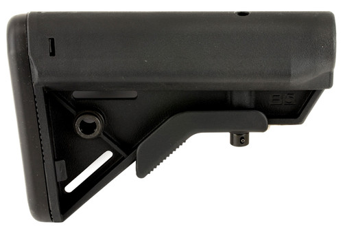 Introducing the B5 Systems SOPMOD BRAVO Buttstock. Designed to fit a MILSPEC Receiver Extension (Buffer Tube).   Building upon the success of the B5 Systems Enhanced SOPMOD, B5 has taken the features end users demand, offering them in a lighter, compact buttstock, at an even more attractive price point.   The B5 Systems SOPMOD BRAVO buttstock maintains the SOPMOD's cheek weld, one piece anti-rotational QD swivel mount, no slip cushioned buttpad, and improved suregrip stock latch. The BRAVO omits the SOPMODs storage capability and angles the rear of the buttstock ensuring consistent stock placement against the shoulder and cheek.   The BRAVO is made out of milspec materials and finishes, and is offered in standard colors of Black, Flat Dark Earth, and Foliage Green. ***This product contains chemicals/materials known to the State of California to cause cancer and other reproductive harm. To learn more, visit www.p65warnings.ca.gov.***