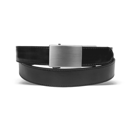 """Ultimate Carry Belt Details Make belts with holes a thing of the past with our ratcheting Ultimate Carry Belt. Designed with a stiff polymer core, this belt was made to handle the added weight of a firearm while sparing the bulk. The Ultimate Carry Belt can be adjusted in fine increments on the fly without having to undo the belt buckle.  Made with tough, water resistant materials and a ratcheting system with 1,300 lb of tensile strength, our Ultimate Carry Belt may just be the last belt you ever buy.  Features  Two Styles and Four Colors  Coyote and Black in Nylon as well as Brown and Black in Leather.  One Size  Fits waists from 28"""" to 50"""". Simply follow the provided instructions to size it to your waist.  Ratcheting Buckle Design  Allows for up to 6 inches of adjustment on the fly without undoing your belt buckle. The reinforced polymer teeth allow for fine adjustments unlike a traditional belt.  Reinforced Polymer Core  Keeps any size firearm right where you put it. Forget the days of having to wear a double layer nylon belt or steel core leather belt that's too stiff. Spare the bulk with no compromise.  What's Included 1x  Ultimate Carry Belt 1x  Screw Set with Allen Wrench Limited One-Year Warranty  Learn more about this limited warranty  Ultimate Carry Belt Sizing Instructions (Select the images below to see larger view.)"""