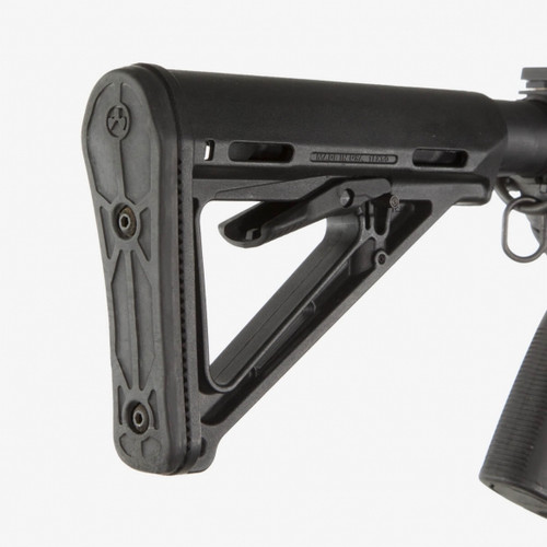 """The MOE Carbine Stock - Mil-Spec model (Magpul Original Equipment) is a drop-in replacement buttstock for AR15/M16 carbines using Mil-Spec sized receiver extension tubes. Designed for light, fast action the streamlined A-frame profile avoids snagging and shields the release latch to prevent accidental activation.  The Mil-Spec Model includes a standard 0.30"""" thick rubber butt-pad which provides positive shoulder purchase to prevent slippage even with body armor or modular gear.  Made in the USA.   DEPENDABLE AR STOCK  Mounts on Mil-Spec sized carbine receiver extension tube (not included) from manufacturers such as Colt, LMT, Ruger, S&W, SIG, and others (please see the note below)  SECURE FIT  Premium chrome-silicon lock spring provides positive locking and long service life    THE RIGHT BALANCE OF CHEEK WELD AND COMFORT  Sloping cheek weld combines a slim profile with user comfort  Side mounting slots accept optional cheek risers for NON AR15/M4 applications  SET IT AND FORGET IT  Shielded release latch prevents snagging and accidental operation   IMPACT MITIGATION  Removable 0.30"""" Rubber Butt-Pad offers an anti-slip surface and increases impact protection  SLING POINT OPTIONS  Compatible with Magpul ASAP®, ASAP® QD, and other receiver-mount sling attachments.  Sling Mounts:  Rear/Bottom - 1.25"""" sling loops  Toe - Lanyard hole for custom para-cord rigs  E.A.R. Export Administration Regulations Controlled Product  EXPORT NOTICE: This is an item controlled for export by the Export Administration Regulations (EAR) under the Commerce Control List (CCL). These controls take the form of export regulations and license requirements. As part of the express consideration provided for receipt of Magpul's goods, technical data and/or services, you, our customer, acknowledge that the export, re-export or other transfer, directly or indirectly, of the goods, technical data and/or services provided by Magpul in violation of U.S. law is prohibited. Customers acquiring controlled g"""
