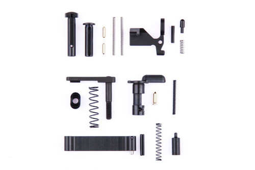 MC Triggers Complete Lower Receiver Parts Kit for AR-15 is a great addition to your AR15 build. From amateur gun builder to seasoned expert gunsmith, this lower parts kit is for you.  *NOTE: Fire control group & grip NOT INCLUDED  PARTS INCLUDED  Bolt Catch Bolt Catch Plunger Bolt Catch Spring Bolt Catch Roll Pin Mag Release Mag Release Button Mag Release Spring Buffer Retainer Spring Safety Buffer Retainer Safety Detent Spring Safety Detent Trigger Guard Trigger Guard Roll Pin Take-down Detent Springs Take-down Detent Take-down Pins