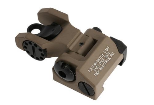 Rear Folding Sight -FDE  Description:  Durability and dead-on accuracy make Troy BattleSights™ the hands-down first choice of Special Ops and Tactical Users Worldwide.  Troy's Rear Folding BattleSight is easy to install and deploy, with no levers or springs to fumble with. No tools required for adjustment.  Features  Sight can be moved or taken off without permanent modification to the firearm. A stainless-steel cross-locking system ensures sights remain upright and zeroed under extreme combat conditions. A push of a button folds the sights securely out of the way until you need them again. Technical Specifications  Machined from hardened Aircraft Aluminum with stainless steel components and finished in MIL-SPEC hardcoat anodizing. Each click adjusts .50 MOA. $119.00