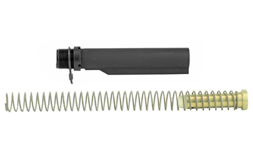 "CMMG, Receiver Extension Kit, For AR-15 Carbine, Black Designed to work with both standard 5.556mm NATO AR rifle builds High quality anodized aluminum Product Description When you are thinking about building a new AR-15 rifle or completing that lower you have had sitting around"" this CMMG AR-15 Carbine Receiver Extension Kit"" 6-position Mil-Spec"" is the perfect one. This kit contains an AR-15 rifle receiver extension"" end plate"" carbine buffer and spring. Designed to work with both standard 5.56mm NATO AR rifle builds."