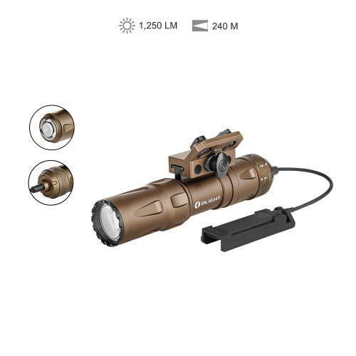 ● Ultra-compact M-LOK mount tactical light with max 1,250 lumens  ● Compatible with Picatinny rails via the optional adapter  ● Revolutionary remote switch ensuring a tight fit and quick attachment  ● Multifunctional tail switch for quick activation and tactical type usage  GENERAL DATA Beam Distance (ft)787 Beam Distance (m)240 Max. Performance (lumens)1,250 Charge typeMCC3 Magnetic Charging Cable Compatible BatteriesCustomized 2040mAh 18500 Rechargeable Lithium Battery Light Intensity (candela)14,400 Light SourceHigh Performance Neutral White LED Mode OperationTail Switch Form/Size FactorCompact Size LIGHTING LEVELS LEVEL 1 (lumens)1,250~900~700~200 Run-time LEVEL 1 6+11+39+14 minutes LEVEL 2 (lumens)200 Run-time LEVEL 2 5 hours StrobeNo SOS / BEACONNo TECHNICAL CHARACTERISTICS WaterproofIPX8 Weight (g / oz)176/ 6.21 Length(mm / in)115.5/ 4.55 Head Diameter (mm / in)29/ 1.14 Body Diameter (mm / in)25.7/ 1.01 LedHigh Performance Neutral White LED PackagingCarton Blister UseSelf-defense, Law enforcement, Tactical Package Contents Odin Mini (Battery Included) x 1 MCC3 Magnetic Charging Cable x 1 Magnetic Remote Switch x 1 M-LOK Rail Mount x 1 M-LOK Nut x 2 M-LOK Socket Screw x 2 H3.0 Allen Wrench x 1 Pressure Switch Mount x 1 Self-locking band x 2 User Manual x 1