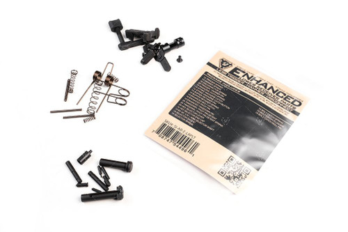 Package includes:  SPRINGS:  Bolt Catch Spring - easily confused with the disconnector spring; disconnector spring is tapered though. Buffer Retainer Spring - second largest coil type spring in the kit. Disconnector Spring – slightly larger than bolt-catch spring, identifiable because one end is a little bit wide than the other. Hammer Spring - largest of all the springs.  Magazine Catch Spring - this is the largest coil spring in the kit. Pivot Detent Spring - same as the takedown detent spring, so there are two in a kit. Selector Spring - similar to the takedown and pivot detent springs, but larger diameter; there will only be one of these. Takedown Detent Spring - same as the pivot detent spring, so there are two in a kit. Trigger Spring - the smaller of the two largest springs. PINS:  Enhanced Bolt Catch  - features improved grip surfaces and angles Strike Magazine Catch  Strike Magazine Catch Button - features improved grip surface Enhanced Pivot Pin - longer of the two large pins. Enhanced Takedown Pin - smaller of the two large pins. SI Selector Lever - 2 included in package SI Selector End Plate SI 60-90° 3-in-1 Selector Shaft - with screws Bolt Catch Plunger – mushroom shaped pin Bolt Catch Roll Pin - smaller of the two roll pins. Hammer Pin – solid pin with machined grooves; can be inserted from either side. Pivot Detent - same as takedown detent; both sides usually rounded or semi-conical. Selector Detent - one end is flat, the other pointed/semi-conical. Takedown Detent - same as pivot detent; both sides usually rounded. Trigger Pin - same as hammer pin; can be inserted from either side. Buffer Retainer  – large hollow barrel with small pin protruding from the top ** Highlighted parts are SI exclusive ENHANCED components    Features - Includes SI's signature Enhanced Lower Parts (AR-EBC, AR-SMC, AR-EPTP, & AR-HS-60/90-3in1) - SI's Trigger Springs provide a consistent 4 ½ to 5 ½ lbs trigger pull with our fire control group  COMPATIBILITY: AR-15: Mil-Spec lower receivers NOT COMPATIBLE: AR-10: Bolt Catch, Bolt Catch Roll Pin, Pivot Pin and Takedown Pin are not compatible with AR-10 lower receivers.  DISCLAIMER: Due to the compact design of the PDW Stock and PDW Stabilizer, the SI Extended, Shift & Ultra Light Pivot / Takedown Pins, as well as other possible extended pin sets on the market, will bind or not clear the slide rods.